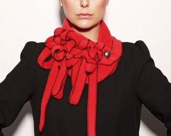 Minstral - Red/Black Scarf, Fleece scarf, Ladies fleece, Winter Scarf