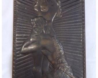 Vintage Soviet Russian Picture Copper Stamping  Chekanka Metal Art USSR Чеканка