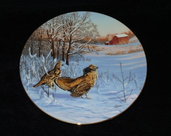 "1991 W.S. George Field Birds of North America ""In Display: Ruffed Grouse"" Collector Plate by Darrell Bush"