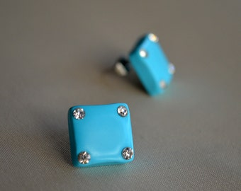 Square Stud Earrings / Turquoise Stud Earrings / Crystal Studs / Zirconia Earrings