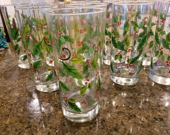10 Libbey 1970s  Holly  Glasses,  2 sets Available for total of 20
