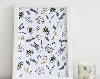 Bee Print Illustration Art Design Honey & Bumble