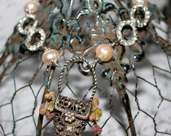 In the Park, vintage assemblage, antique brooch, basket brooch, hand wired, cathedral beads