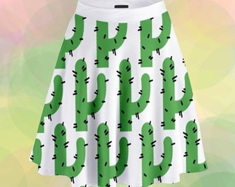 All over Cactus print high waisted dress