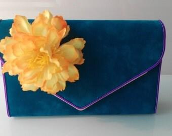 "Bag Torebka bag ""summer dream"" flowers kwiaty flower turquoise Turkusowy turquoise"