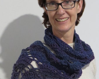 Triangle Shawl Cowl Hand made Crocheted self striping Blue