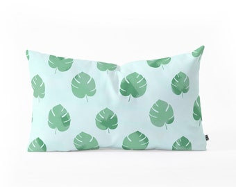 Palm Springs Palm Leaves - oblong lumbar throw pillow