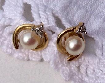Vintage 14 K Gold Cultured Pearl Earrings