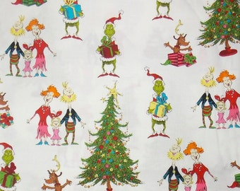 Grinch Fabric Christmas Fabric  Fabric Holiday Fabric Cotton Fabric Whoville Fabric Quilting Fabric