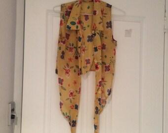 Vintage Sleeveless tie up crop