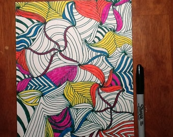 Bright colors Zentangle inspired art
