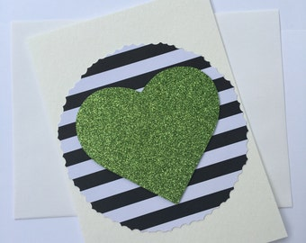 Stripes with a green heart blank card
