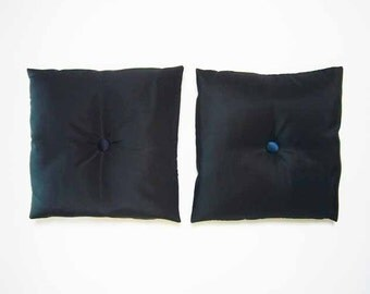 BLACK TAFFETA throw PILLOWS