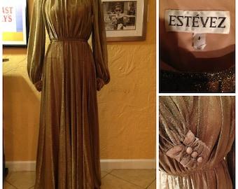 Luis Estevez Vintage 1970s Metallic Gold Dress