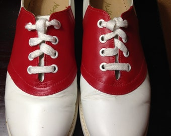Red and White Willits Saddle Shoes