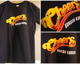 rare 80s/90s Vintage Cheers tv show Kunsan Korea black shirt size medium/large
