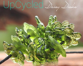 UpCycled Daisy Disk lampwork beads MTO from Champagne Bottle glass for Jewelry Design
