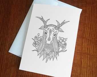 """Black and White Deer Coloring Blank Greeting Card 5"""" x 7"""""""
