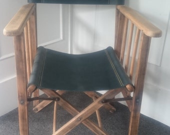 Directors chair with green leather