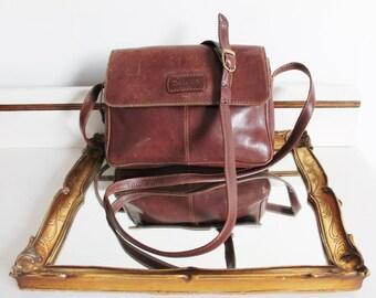 Vintage Oriano Brown Tan Leather Satchel Across Body Messenger Handbag Bag Purse