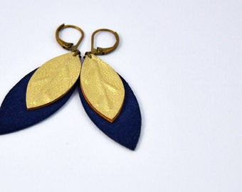 "Earrings ""leaves"" Sapphire (side suede) and gold leather"
