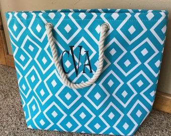 Beach Bag with Monogram-Personalized Beach Bag-Nautical Bag-Nautical Tote-Beach Tote-Personalized tote-Bag with Name on it-Tote with Name
