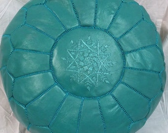 SALE ** STUFFED Moroccan Leather pouf ottoman with top embroidery in Turquoise