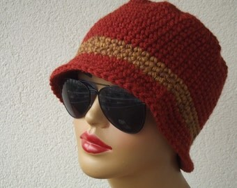 FREE SHIPPING cinnamon hat beret accessories crochet hat beret crochet beanie gift for her