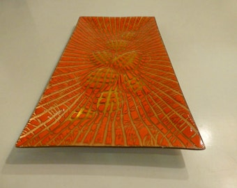 Midcentury Annemarie Davidson Orange Enamel over Copper Tray Hynotic