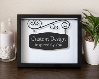 Customized Design Die Cut Frame - Shadow Box - Picture Frame - Vinyl on Glass - 8x10 - 11x14