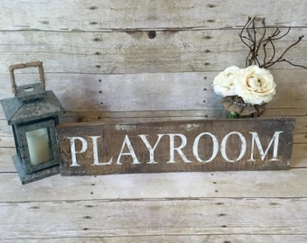 Rustic Playroom Sign | Reclaimed Wood Sign | Home Decor | Weathered Decor| Nursery Decor