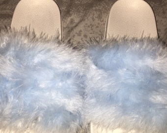 Diamond blue fluffy sandals