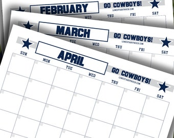 Cowboys 12 Month Calendar