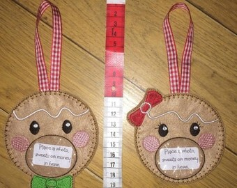 Gingerbread man and woman treat bags, Alternative Christmas decoration or gift