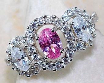 2 ct Pink Sapphire & White Topaz .925 Genuine Solid Sterling Silver Ring Sz 8