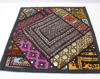 Vibrant Tribal Style Cushion cover. 16X16 Bohemian Patchwork With mirror detailing
