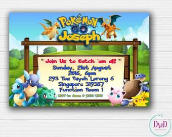 Pokemon Go Birthday Invitation, Pokemon Go Invitation, Pokemon Go Birthday, Pokemon Birthday, Printable Birthday Invites - DIGITAL FILE