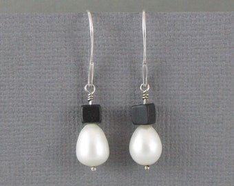 Pearl and Lava Rock Dangle Earrings with Sterling Silver Ear Wires, Hand Crafted