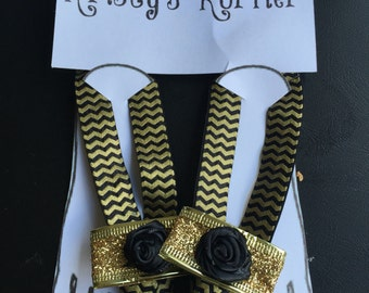 Barefoot sandals black rose and gold