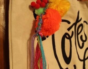 Frilly Pom Pom Tassel Bag Clip Keychain