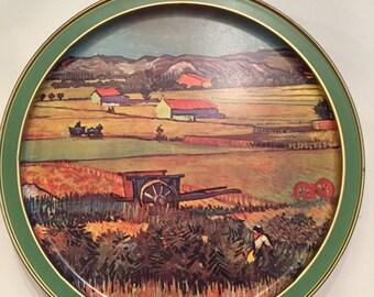 "Vintage Sunshine tin ""The Langlois bridge at Aries"" & ""Landscape w/Vegetable gardens."