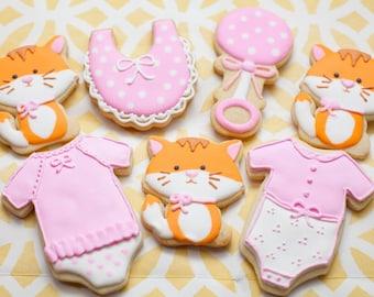Baby Shower Cookies Cat theme (one dozen)