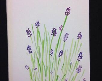 Lavender Field Watercolour Print Card - BLANK INSIDE