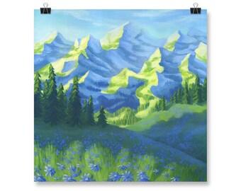 "Mountains Painting, Green Wall Art, Landscape, Poster Print, 10x10"", 12x12"", 14x14"", 16x16"", 18x18"""