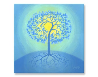 """Abstract Tree of Life Wall Art, Canvas Print of Acrylic Painting, 12x12"""", 16x16"""""""