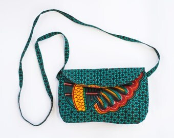 Fair Trade Purse in Teal Plumage