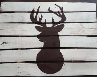 Barn Wood Handpainted Buck Silhouette ~ Stag Pallet~ Deer Home Decor ~ Reclaimed Wood