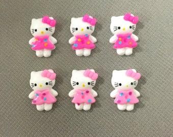Pink kitty cabochons