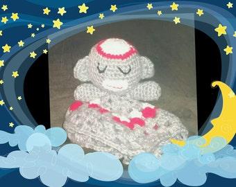Sock monkey hand crocheted binky blanket