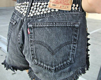 Vintage Levis 501 red tab denim jean shorts cut offs high waisted waist daisy dukes studded spikes black grey distressed frayed button fly